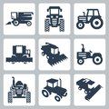 Vector tractor and combine harvester icons Royalty Free Stock Photo