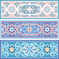 Vector traditional muslim floral ornament set of the vintage islimi or arabesque Stock Photography