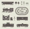 Vector train set of various elements of railroad trains Stock Images