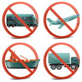 Vector transport with prohibitory sign on white background Stock Photography
