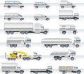 Vector transportation icon set. Trucks and vans Royalty Free Stock Photo