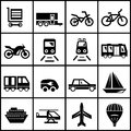 Vector transportation icons isolated on white Stock Photo
