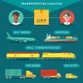 Vector transportation logistics concept. Management infographics in flat style. Shipping icons set.Freight illustration.