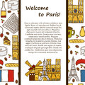 Vector travel concept with cute hand drawn cartoon objects on paris theme eiffel tower flag moulen rouge wine croissant macaroon Stock Photo