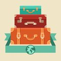 Vector travel concept in flat style stack of vintages suitcases Stock Photography