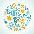 Vector travel concept summer vacation icons Stock Photography
