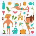 Vector travel icons cute summer beach elements Stock Photography