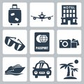 Vector travel icons set isolated Stock Photo