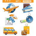 Vector travel icons set isolated on white background Stock Photo
