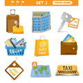 Vector travel icons set isolated on white background Stock Image