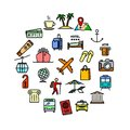 Vector travel related set of 25 color outline icons