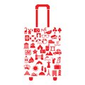 Vector travel suitcase with many icon this is file of eps format Royalty Free Stock Photos