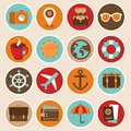 Vector travel and vacation icons in flat style Stock Photo