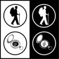 Vector traveller and compass icons Stock Images