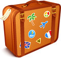 Vector traveller's brown vintage leather suitcase Stock Photography