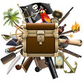Vector Treasure Hunt Concept with Chest Royalty Free Stock Photo