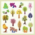 Vector Tree Illustrations Set Royalty Free Stock Photo