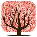 Vector tree with red leaves
