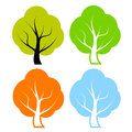 Vector trees set isolated on white Stock Images