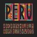 Vector trendy alphabet made of cutout geometric colored shapes on a black background. Peru palette