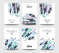 Vector trendy brochure templates with chaotic flat geometry in memphis style