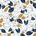 Vector trendy seamless pattern with botanical elements in vintage style.Magnolia flowers,buds and leaves in deep blue and mustard