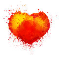 Vector trendy watercolor grunge paint splash heart Royalty Free Stock Photo