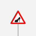 Vector triangle with shoe inside. Vector high heels woman driver sign. Royalty Free Stock Photo