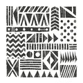Vector tribal background. Abstract pattern with primitive shapes. Hand drawn illustration. Royalty Free Stock Photo