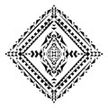 Vector tribal black and white decorative pattern. Aztec ornamental style