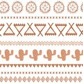 Vector tribal ethnic seamless pattern. Aztec abstract background. Mexican ornament texture in coffee brown color Royalty Free Stock Photo