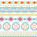 Vector tribal ethnic seamless pattern. Aztec abstract background. Mexican ornament texture in bright pink orange colors Royalty Free Stock Photo