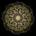 Vector tribal golden color mandala on a black background.