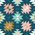 Vector tribal kilim teal and pink seamless repeat pattern background
