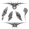 Vector tribal tattoo set of six elements on a white background Royalty Free Stock Photography
