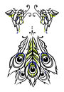 Vector tricolor illustration peacock wings tail made tattoo body art style white Royalty Free Stock Photo