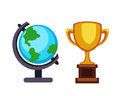 Vector trophy champion cup and earth globe flat icon. Winner trophy award and victory prize. Sport success and best win Royalty Free Stock Photo