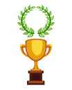 Vector trophy champion cup flat icon. Winner award and victory prize. Sport success and best win golden leadership award Royalty Free Stock Photo