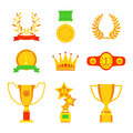 Vector trophy champion cup flat icon winner gold award and victory prize sport success best win golden leadership Royalty Free Stock Photo