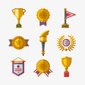 Vector trophy champion cup flat icon winner gold award and victory prize sport success best win golden leadership