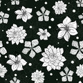 Vector tropical black and white flowers seamless repeat pattern background design. Great for summer party invitations Royalty Free Stock Photo