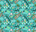 Vector tropical bright  seamless pattern with surfboard, cocktail, ice cream, floral elements. Royalty Free Stock Photo