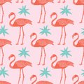 Vector tropical flamingos and flowers seamless pattern on pink background