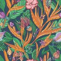 Vector Tropical Floral Pattern Royalty Free Stock Photo