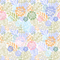 Vector tropical flowers patten. seamless design with gorgeus botanical elements, hibiscus, palm, bird of paradise
