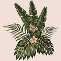 Vector tropical leaves and flowers composition hawaiian style