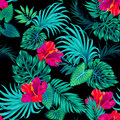 Vector tropical pattern with palms and hibiscus .