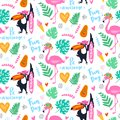 Vector tropical seamless pattern with pink flamingo, toucan, tropic leaves. Exotic background.