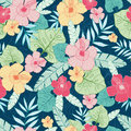 Vector tropical summer hawaiian seamless pattern with tropical plants, leaves, and hibiscus flowers. Great for vacation