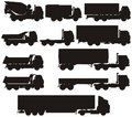 Vector truck silhouettes set Stock Photography